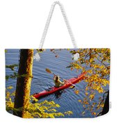 Woman Kayaking With Fall Foliage Weekender Tote Bag