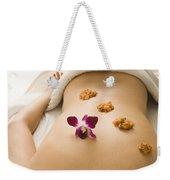 Woman Lying On Massage Table Receiving Weekender Tote Bag