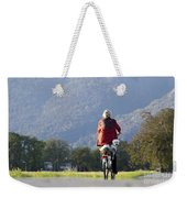 Woman On A Bicycle With Her Dog Weekender Tote Bag