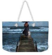 Woman On Dock In Storm Weekender Tote Bag