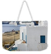 Woman On The Terrace - Mykonos Weekender Tote Bag