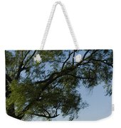 Woman Sitting At Picnic Bench Weekender Tote Bag