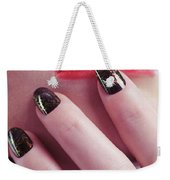 Woman Touching Lips With Her Hand Weekender Tote Bag