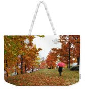 Woman With A Red Umbrella Weekender Tote Bag