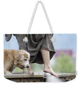Woman With A Skirt And A Dog Weekender Tote Bag
