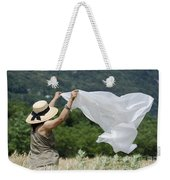 Woman With A White Sheet Weekender Tote Bag