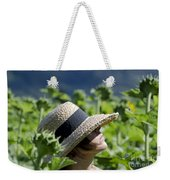 Woman With Straw Hat Weekender Tote Bag