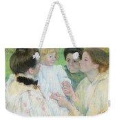 Women Admiring A Child Weekender Tote Bag by Mary Stevenson Cassatt