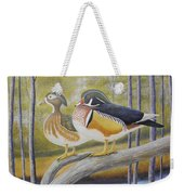 Wood Duck Pair At The Lake Weekender Tote Bag