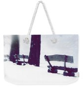 Wooden Benches In Snow Weekender Tote Bag