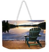 Wooden Chair At Sunset On Beach Weekender Tote Bag