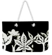 Wooden Leaf Shapes In Black And White Weekender Tote Bag