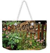 Wooden Plant Sign In Flowers Weekender Tote Bag