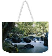 Woodland View Of A Small Creek Flowing Weekender Tote Bag
