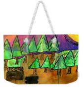 Woods Cut Logs And A Sunset Weekender Tote Bag