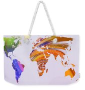 World Map Abstract Painted Weekender Tote Bag