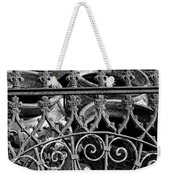 Wrought Iron Gate And Pots Black And White Weekender Tote Bag
