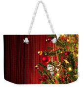 Xmas Tree On Red Weekender Tote Bag by Carlos Caetano