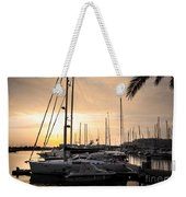 Yachts At Sunset Weekender Tote Bag by Carlos Caetano
