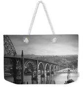 Yaquina Bay Bridge Oregon B And W Weekender Tote Bag