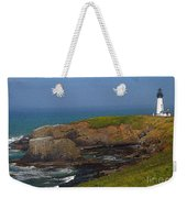 Yaquina Head Lighthouse And Bay - Posterized Weekender Tote Bag