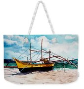 Yellow Boat Docking On The Shore Weekender Tote Bag