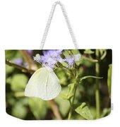 Yellow Butterfly Feeding On Violet Flower Weekender Tote Bag