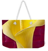 Yellow Calla Lily Red Mat Weekender Tote Bag