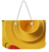 Yellow Cup And Plate Weekender Tote Bag