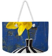 Yellow Daffodil In Striped Vase Weekender Tote Bag