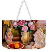 Yellow Daffodils Red Roses  Peaches And Oranges With Tea Cup  Weekender Tote Bag