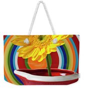 Yellow Daisy In Red Pitcher Weekender Tote Bag