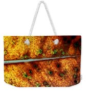 Yellow Leaf With Green Spots And Black Dots Weekender Tote Bag