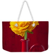 Yellow Ranunculus In Red Pitcher Weekender Tote Bag