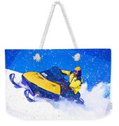 Yellow Snowmobile In Blizzard Weekender Tote Bag