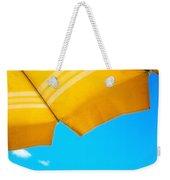 Yellow Umbrella With Sea And Sailboat Weekender Tote Bag