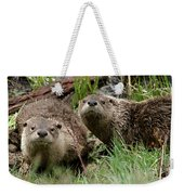 Yellowstone River Otters Weekender Tote Bag