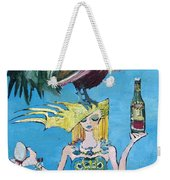 Yoga Girl With Cock - Bottle Of Wine And Egg Weekender Tote Bag
