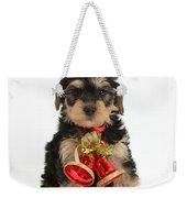 Yorkipoo Pup Wearing Christmas Bells Weekender Tote Bag