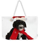 Yorkipoo Pup Wearing Christmas Hat Weekender Tote Bag