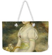 Young Girl With A Basket Of Flowers Weekender Tote Bag