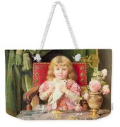 Young Girl With A Dove   Weekender Tote Bag
