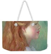 Young Girl With Long Hair In Profile Weekender Tote Bag