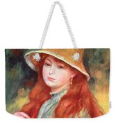 Young Girl With Long Hair Weekender Tote Bag