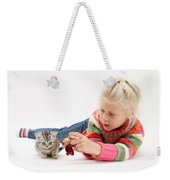 Young Girl With Silver Tabby Kitten Weekender Tote Bag