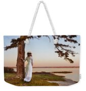 Young Lady In Edwardian Clothing By The Sea Weekender Tote Bag