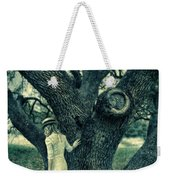 Young Lady In White By Tree Weekender Tote Bag