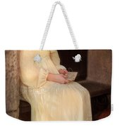 Young Lady In Yellow Gown With Letters Weekender Tote Bag