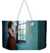 Young Lady Looking Out Window Weekender Tote Bag