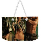Young Man Holding A Mirror For A Woman Weekender Tote Bag